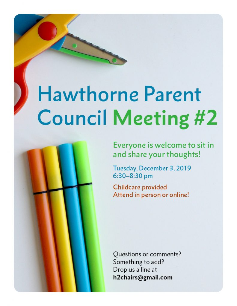 Hawthorne Parent Council Meeting poster