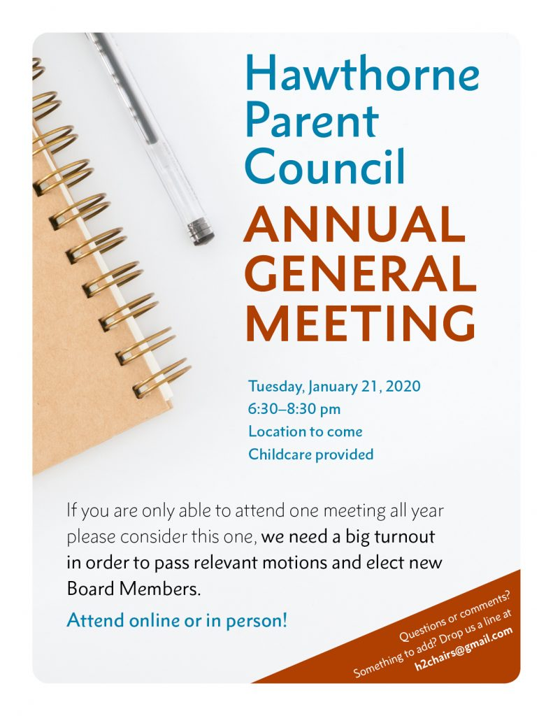 Poster Hawthorne Parent Council Annual General Meeting January 21 6:30-8:30.