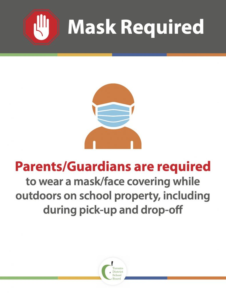 Parents and Guardians are required to wear a mask/face covering while outdoors on school property, including during pick-up and drop-off.
