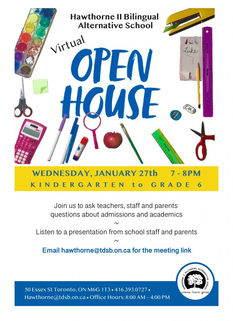 Poster for Hawthorne Open House